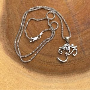 Sterling silver Om Elephant necklace